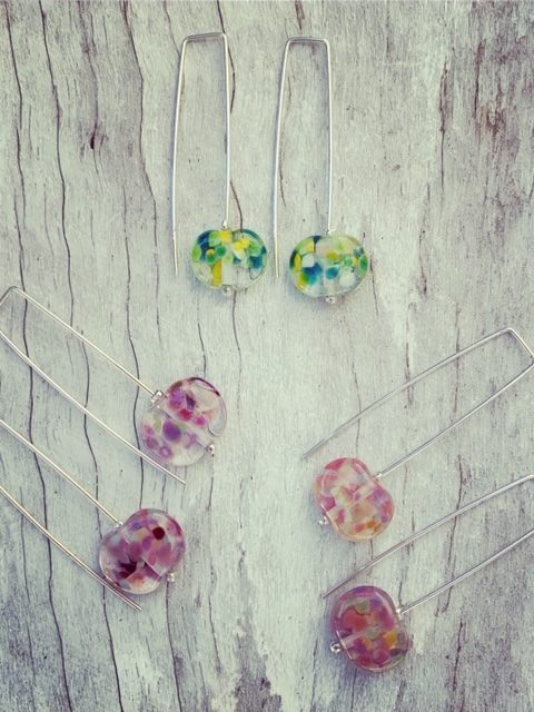 Recycled glass earrings | long colourful earrings now available at Bethany Wines.