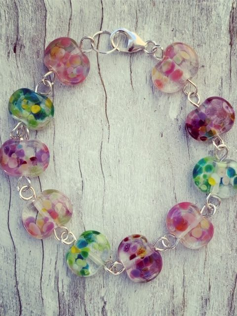Recycled glass bracelet at Bethany Wines