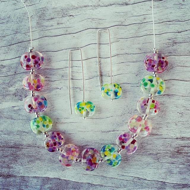 Recycled glass jewellery | glass beads made from a Bethany Winery wine bottle