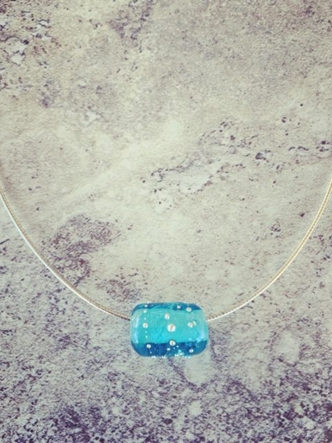 Recycled glass pendant | bead made from a Bombay Sapphire Gin bottle