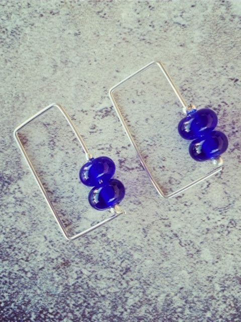 Recycled glass earrings | glass beads made from Skyy Vodka bottle