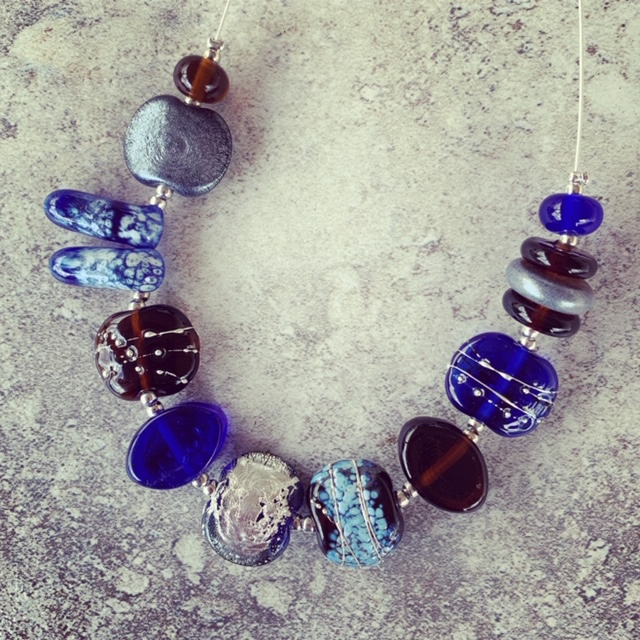 Recycled glass necklace | glass beads made from vodka and gin bottles