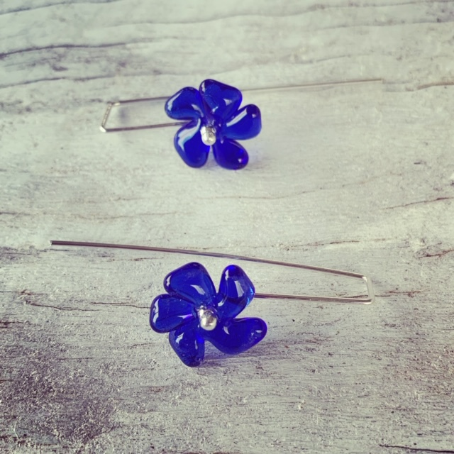 Recycled glass earrings | blue glass flower beads made from a Skyy Vodka bottle