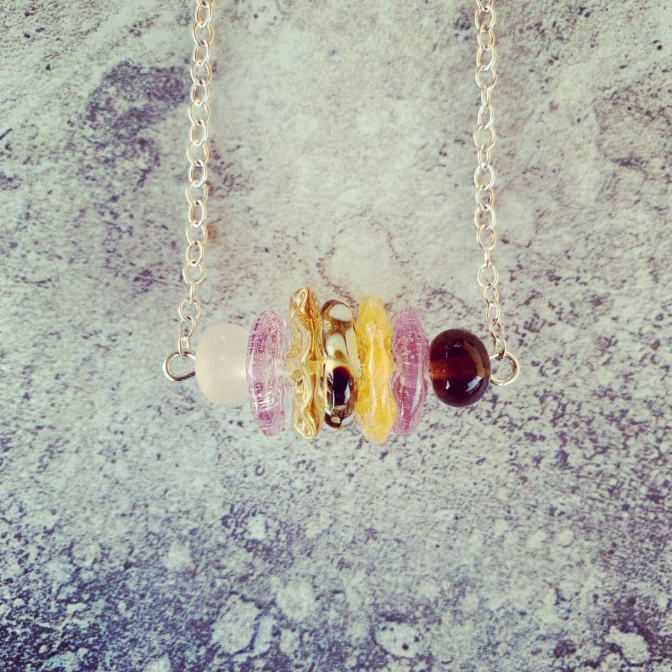 Recycled glass necklace | assorted recycled glass beads