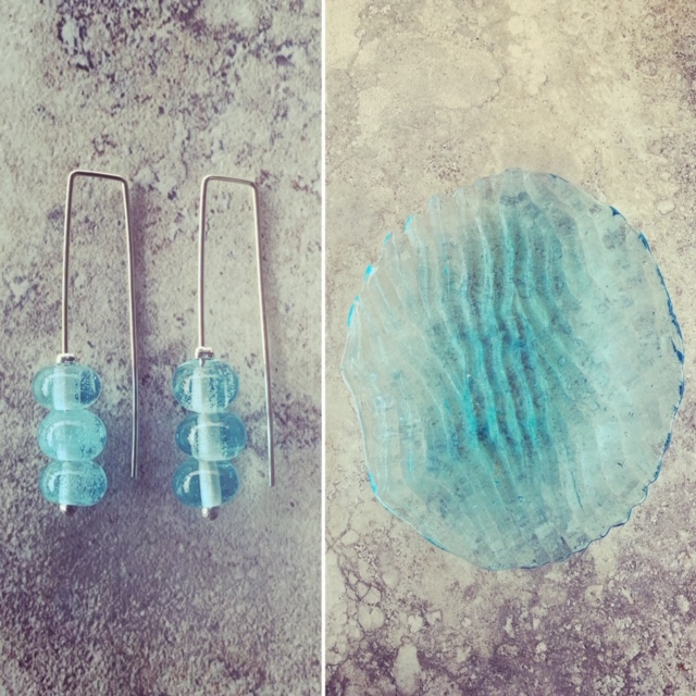 I melted the glass from this pretty blue plate to make some pretty earrings.