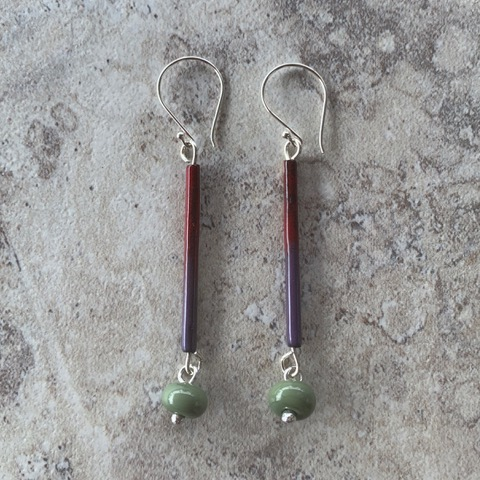 Green enamel earrings - handmade glass beads