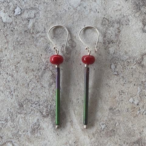 Red enamel earrings - handmade glass beads