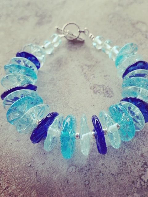 Blue recycled glass bead bracelet, handmade recycled glass beads by Julie Frahm