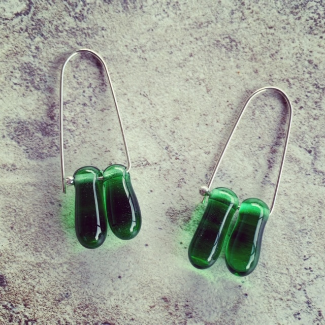 Stunning green glass earrings made from a Tanqueray Gin bottle