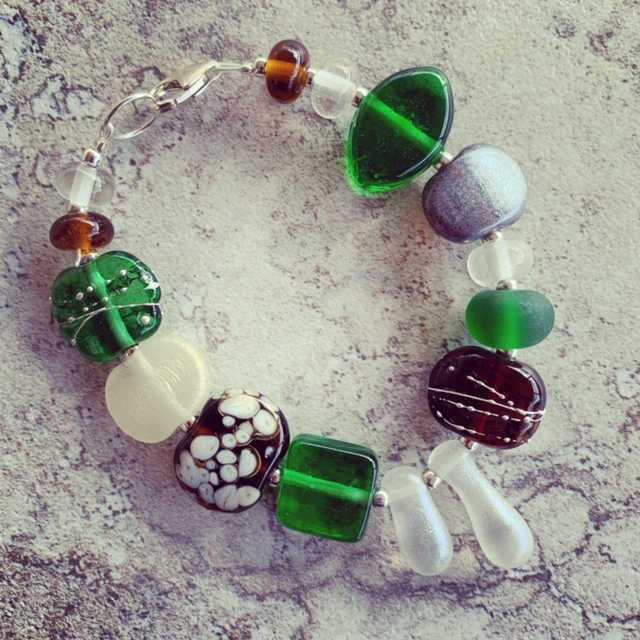 Tanqueray and Hendricks Gin bottle bracelet | recycled glass beads