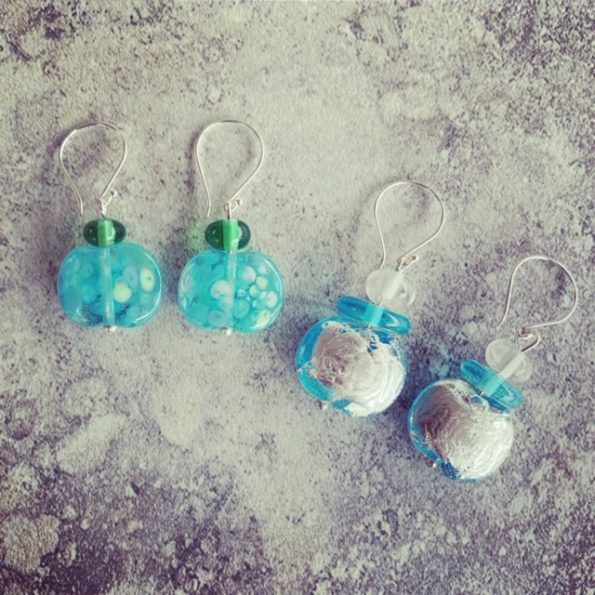 Bombay Sapphire Gin earrings, celebrating world gin day 2019.