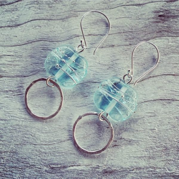Handmade recycled glass bead earrings, made from a banrock Station wine bottle