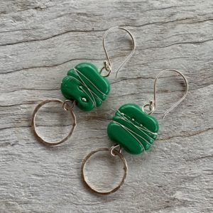 Green Italian glass bead earrings