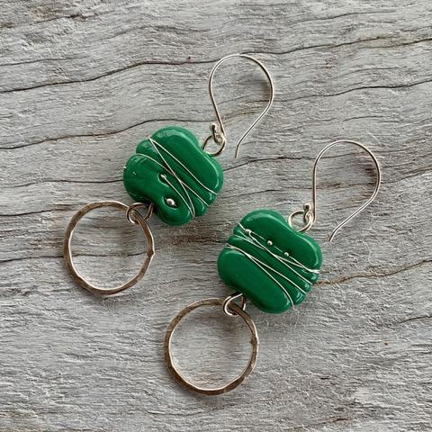Green Italian glass bead earrings