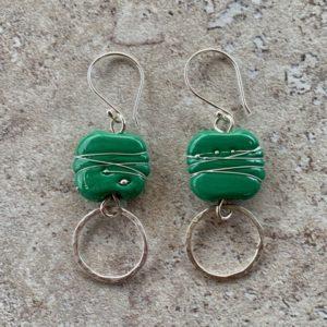 Green and silver Italian glass earrings
