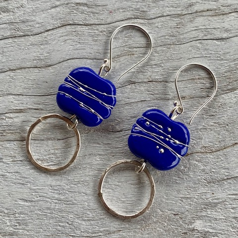 Indigo glass bead earrings