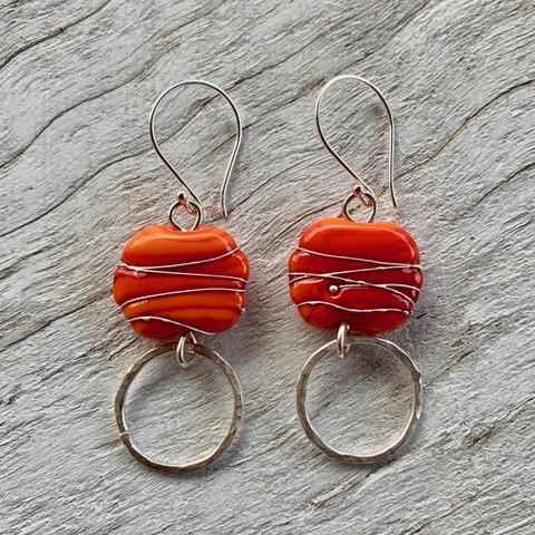 Orange Italian glass bead earrings, handmade glass beads