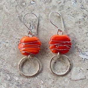 Orange glass bead earrings, handmade glass beads