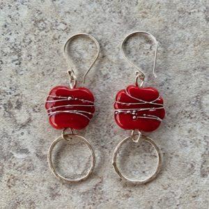 Red Italian glass handmade glass bead earrings