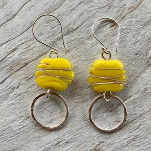 Yellow Italian glass bead earrings with silver textured rings
