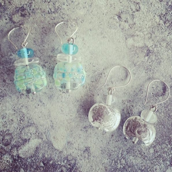 Super sparkly earrings made from a Fever-Tree tonic water bottle