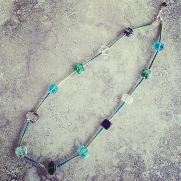 Gin and Tonic and enamel copper tubes necklace