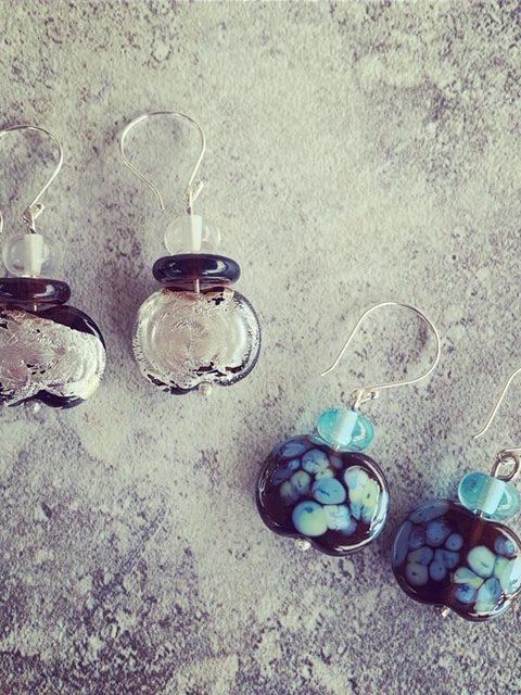 Stunning earrings, beads made from a Hendricks Gin bottle