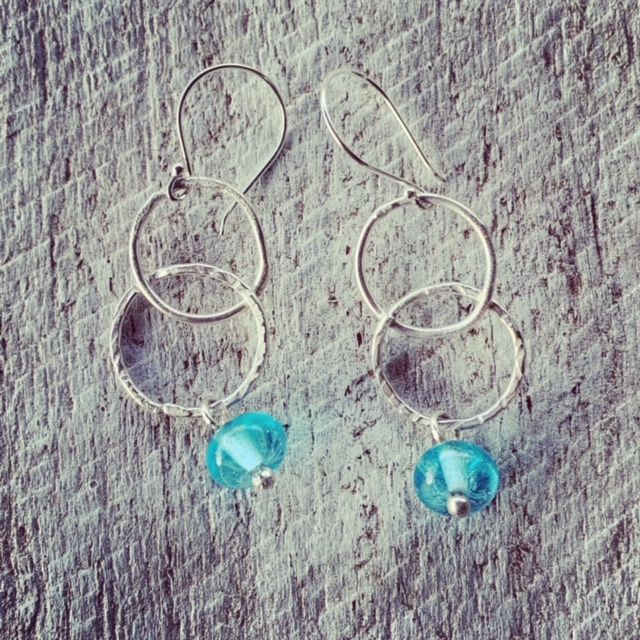 Silver earrings featuring a Bombay Sapphire Gin bottle bead