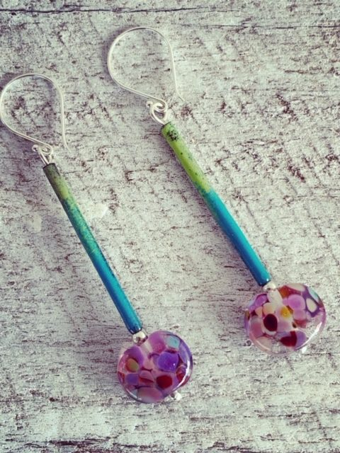 Long copper enamel and recycled glass earrings