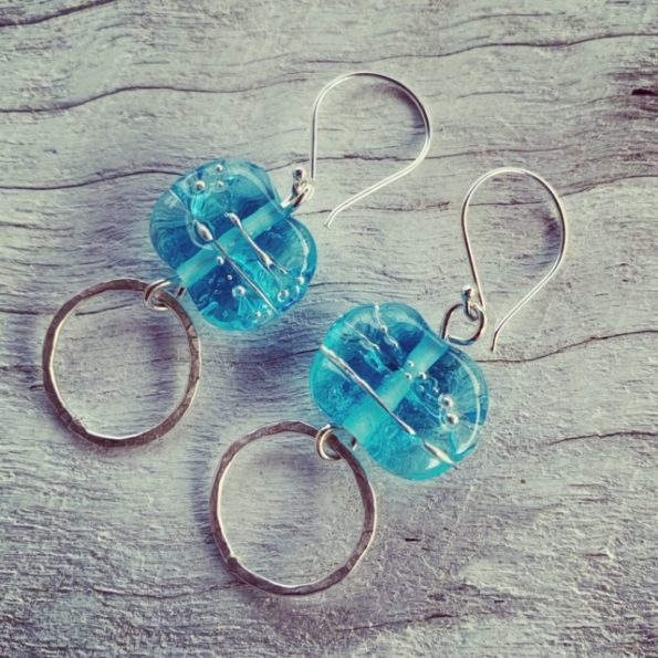 Bombay Sapphire Gin earrings, beads made from a gin bottle