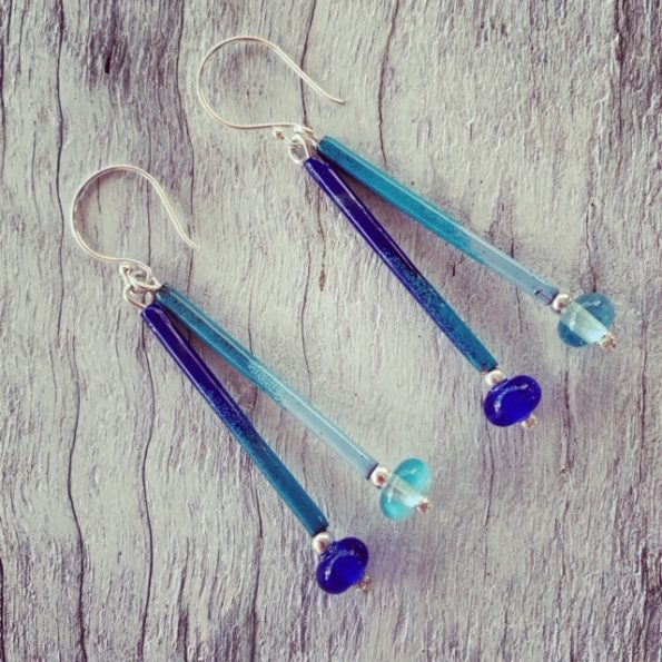 Enamel copper tube long earring with recycled glass beads