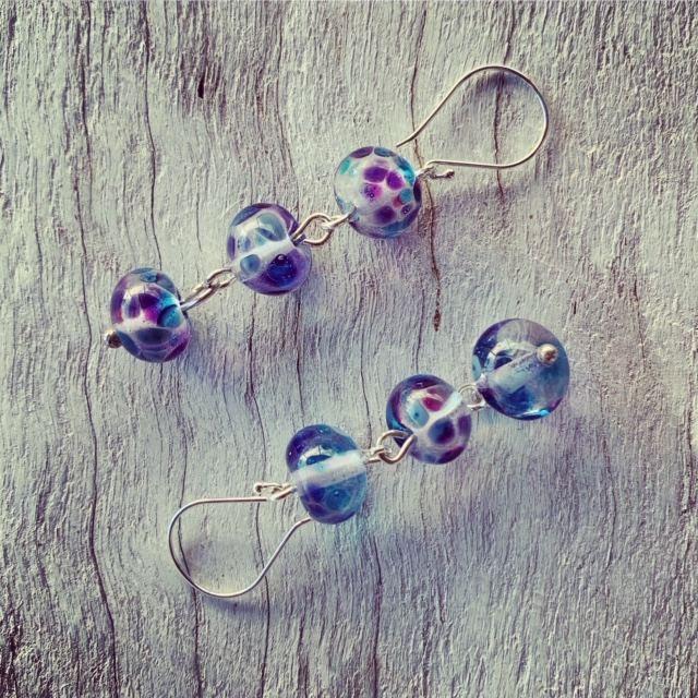 Dark blue purple glass earrings made from a wine bottle