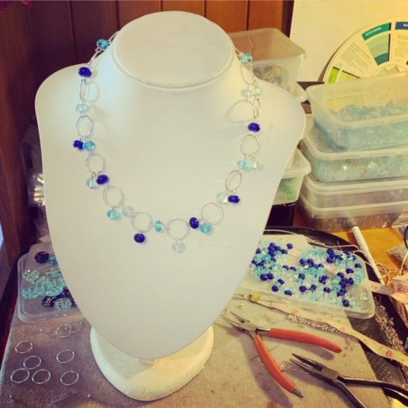 Recycled glass and sterling silver necklace