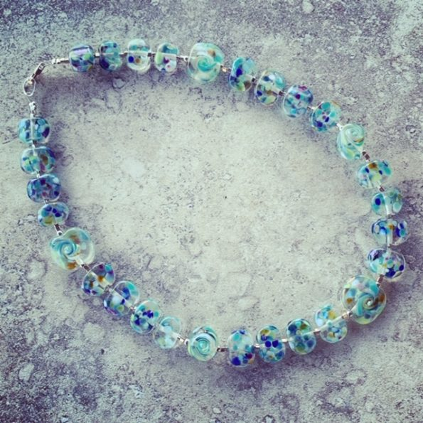 Recycled glass bead necklace, beads made from a wine bottle