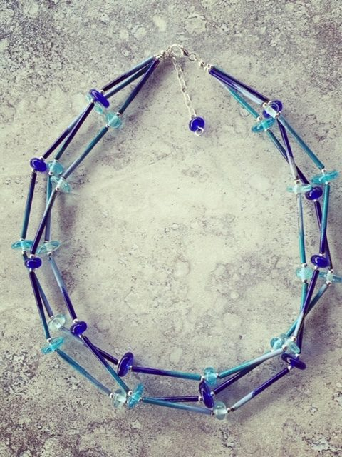 Layered recycled glass and enamel tube necklace