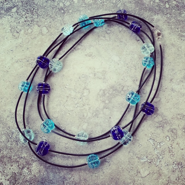 Recycled glass bead necklace with neoprene tube