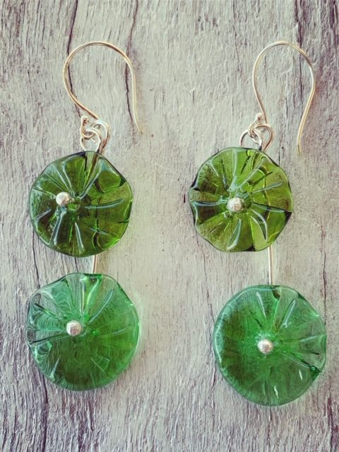 recycled glass flower earrings made from champagne and gin bottles