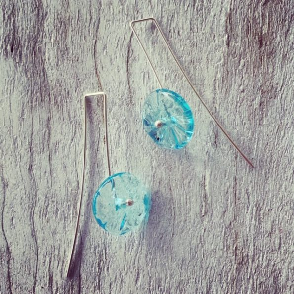 Bombay Sapphire Gin flower earrings