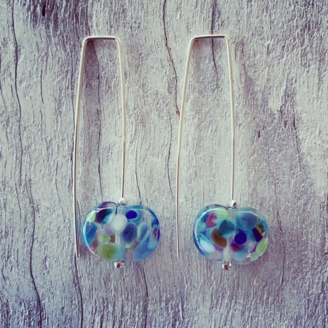 Pretty blue wine bottle earrings