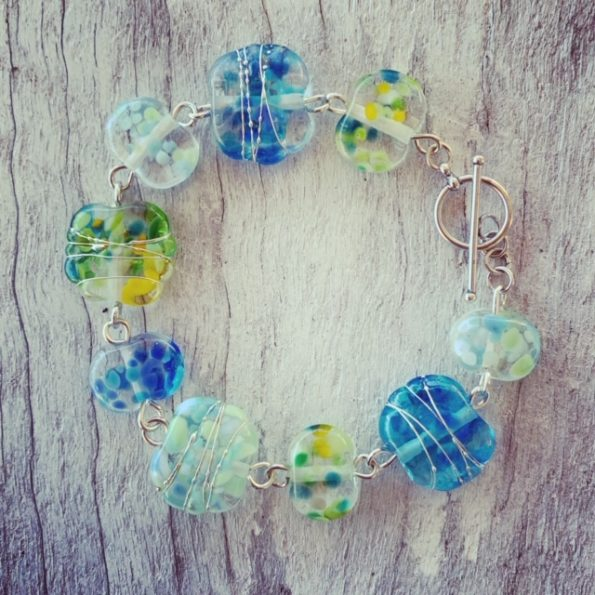 Blue and Green bracelet made from a wine bottle