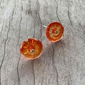 orange stud flower earrings