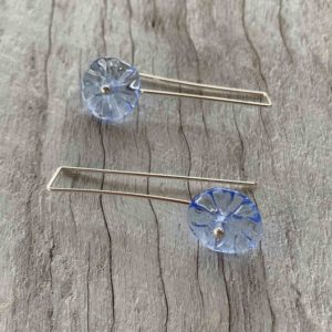pretty blue long flower earrings for spring