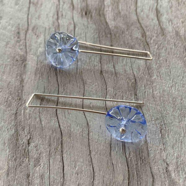 pretty blue long flower earrings for spring