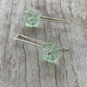 long pretty green flower earrings for spring