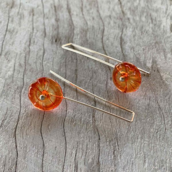 Pretty orange flower earrings for spring