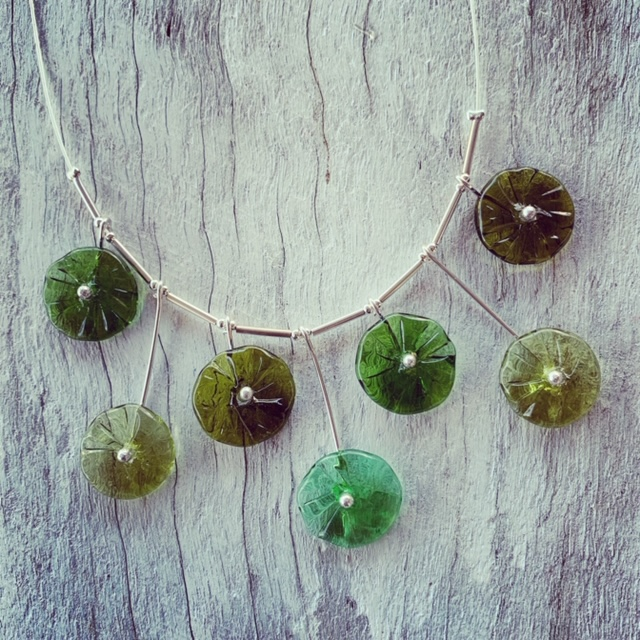Bethany wines green flower necklace