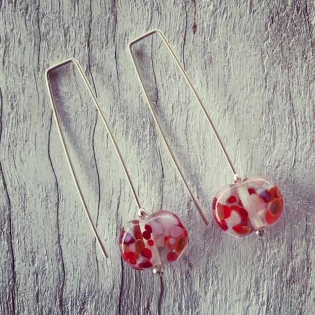 Pink and red wine bottle earrings