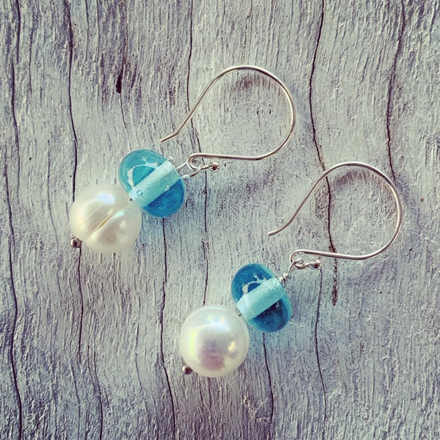 Pearl and Recycled Glass Bead Earrings