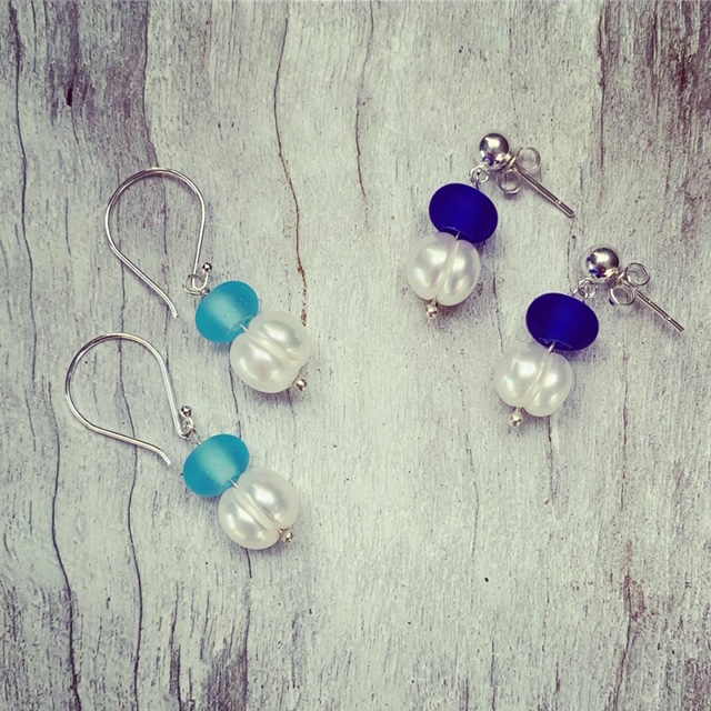 Blue Recycled glass and Pearl Earrings