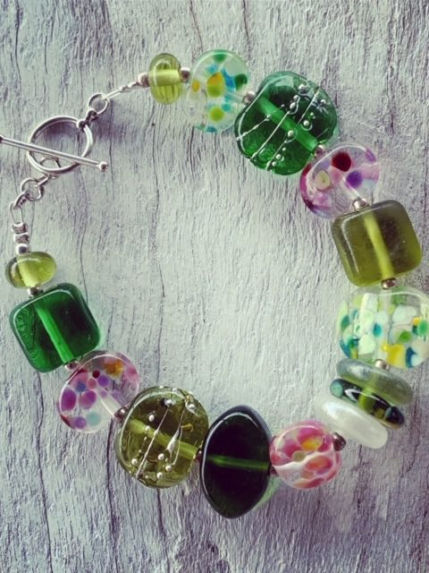 Bethany Wines recycled glass bead bracelet